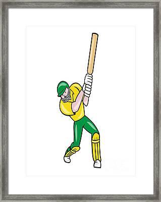 Cricket Player Batsman Batting Front Cartoon Isolated Framed Print by Aloysius Patrimonio
