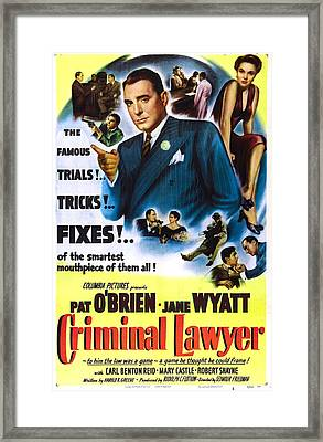 Criminal Lawyer, Us Poster, Pat Obrien Framed Print by Everett
