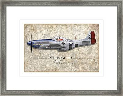 Cripes A Mighty P-51 Mustang - Map Background Framed Print by Craig Tinder