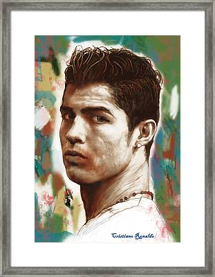 Cristiano Ronaldo Stylised Pop Art Drawing Potrait Poster Framed Print by Kim Wang