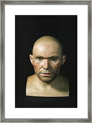 Cro-magnon Man Reconstructed Head Framed Print by Science Photo Library