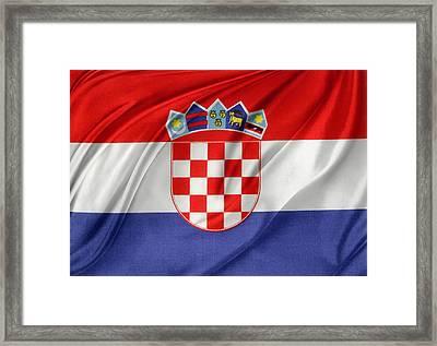 Croatian Flag Framed Print by Les Cunliffe