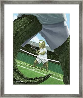 Crocodiles Playing Tennis At Wimbledon  Framed Print by Martin Davey