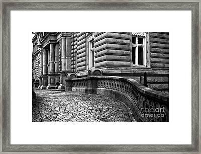 Crooked Hamburg Street Mono Framed Print by John Rizzuto