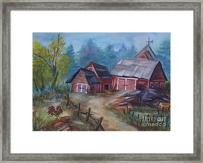 Crooked Red Barn Framed Print by Ellen Levinson