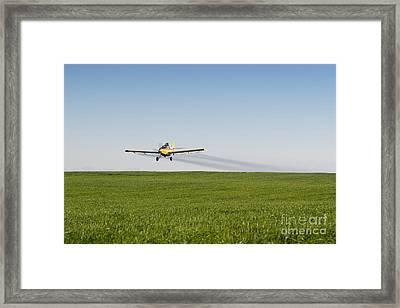Crop Duster Airplane Flying Over Farmland Framed Print by Cindy Singleton