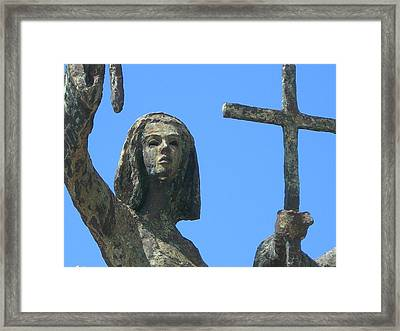 Cross Against The Sky Framed Print by Loretta Cassiano