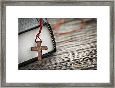 Cross And Bible Framed Print by Elena Elisseeva
