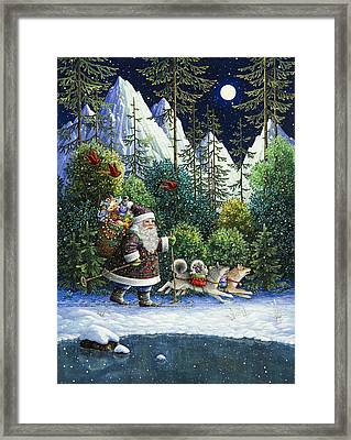 Cross-country Santa Framed Print by Lynn Bywaters