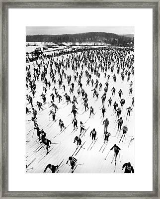 Cross Country Ski Race Framed Print by Underwood Archives