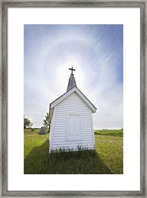 Cross On Crypt With Sun Halo Near Framed Print by Susan Dykstra