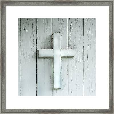 Cross On Holy Angels Sugar Island Michigan Framed Print by Evie Carrier