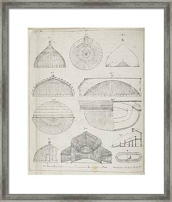 Cross Sections Of Greenhouses Framed Print by British Library