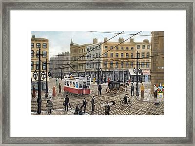 Cross Street Manchester - 1910 Framed Print by Ronald Haber