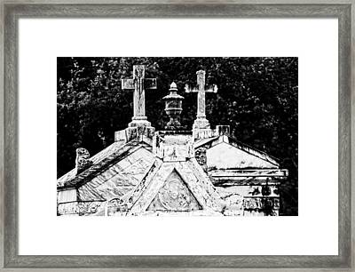 Crosses Of Metairie Cemetery Framed Print by Andy Crawford