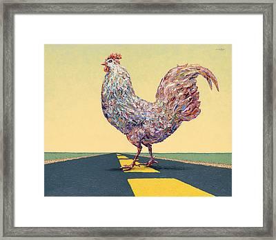 Crossing Chicken Framed Print by James W Johnson