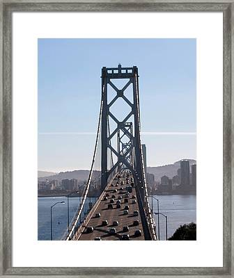 Crossing The Bay Bridge  Framed Print by Dee  Savage