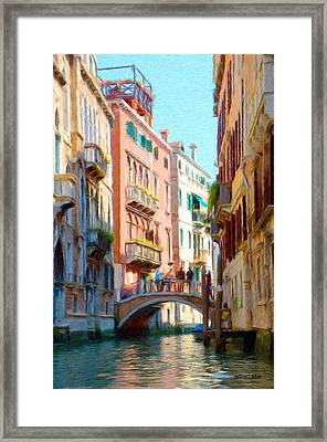 Crossing The Canal Framed Print by Jeff Kolker