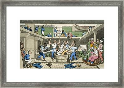 Crossing The Line, Plate From The Framed Print by Thomas Rowlandson