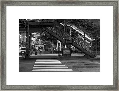 Crosswalk And L In Chicago Framed Print by John McGraw