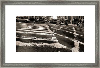 Crosswalk In New York City Framed Print by Dan Sproul