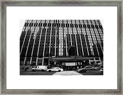 Crosswalk Leading To Penn Station And Madison Square Garden Seventh Avenue New York City Framed Print by Joe Fox