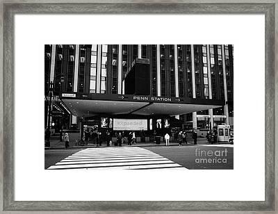 Crosswalk Leading To Penn Station And Madison Square Garden Seventh Avenue New York Framed Print by Joe Fox