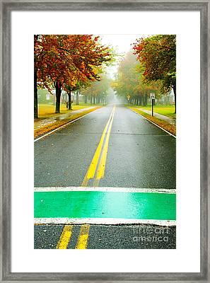 Crosswalks In Autumn Framed Print by Katya Horner
