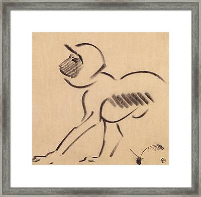 Crouching Monkey Framed Print by Henri Gaudier-Brzeska
