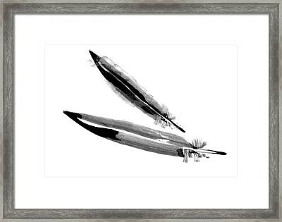 Crow Feather - Raven Feather Watercolor Painting Framed Print by Tiberiu Soos