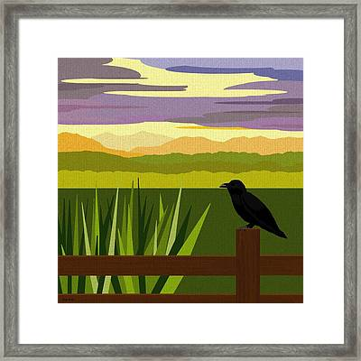 Crow In The Corn Field Framed Print by Val Arie