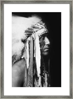 Crow Indian Man Circa 1905 Framed Print by Aged Pixel