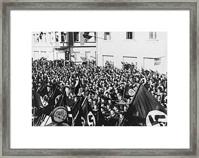 Crowd In Oberwart, Austria, Saluting Framed Print by Everett