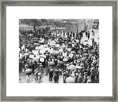 Crowd Protests Bank Failure Framed Print by World Telegram