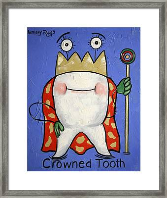 Crowned Tooth Framed Print by Anthony Falbo