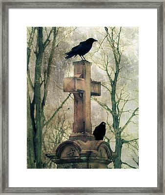 Urban Graveyard Crows Framed Print by Gothicolors Donna Snyder
