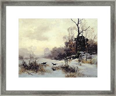 Crows In A Winter Landscape Framed Print by Karl Kustner