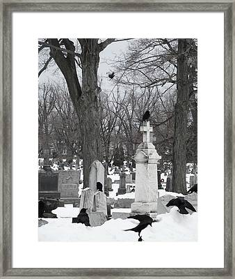 Crows In Gothic Winter Wonderland Framed Print by Gothicolors Donna Snyder