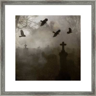 Crows On A Eerie Night Framed Print by Gothicolors Donna Snyder