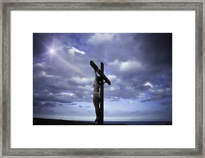 Crucifix In The Light Framed Print by Ramon Martinez