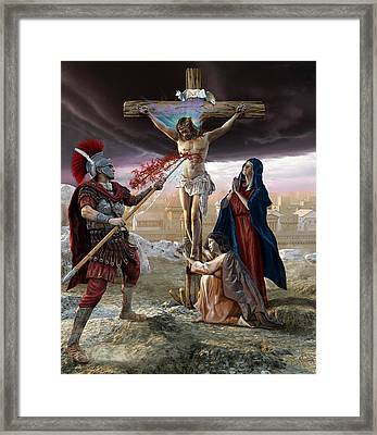 Crucifixion-divine Mercy Framed Print by Kurt Miller