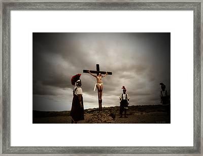 Crucifixion Scene Of Roman Movie Framed Print by Ramon Martinez