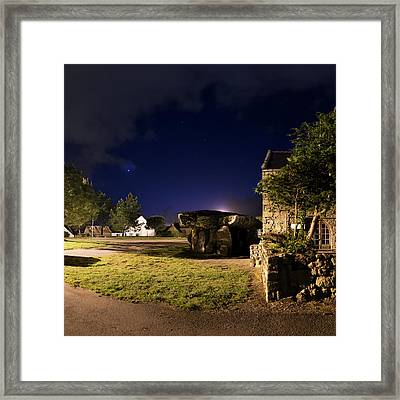 Crucuno Dolmen At Night Framed Print by Laurent Laveder