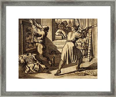 Cruel Chinese Punishment With Bound Framed Print by Dutch School