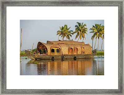 Cruise Boat In Backwaters, Kerala, India Framed Print by Ali Kabas