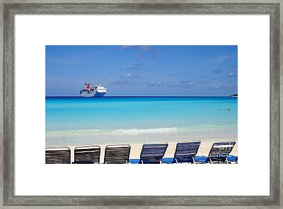 Cruise Ship Off Grand Turk Framed Print by Heidi Hermes