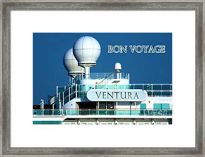 Cruise Ship Ventura's Radar Domes Framed Print by Terri Waters