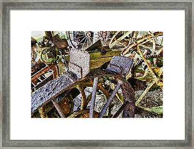 Crusty Rusty Tractor Wheels Framed Print by Robert Rus