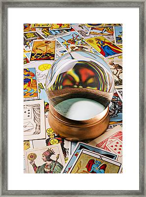 Crystal Ball And Tarot Cards Framed Print by Garry Gay