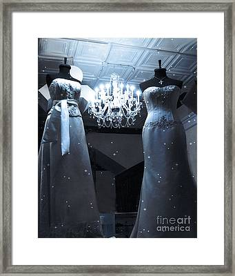 Crystal Chandelier Opulence - Elegant Paris Fashion Couture Starry Night Chandelier Illumination Framed Print by Kathy Fornal